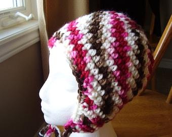 Crochet Super Bulky Acrylic Chocolate Cherry Colour Earflap Hat Teen/Adult