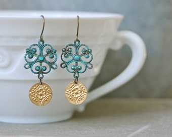 Florenza. bohemian verdigris gold floral coin dangle earrings. tiedupmemories