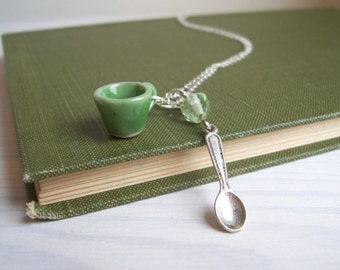 Green Tea necklace - ceramic teacup and little spoon charm in silver - miniature