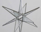 12 Point Stained Glass Moravian Star - Cobalt Blue water glass