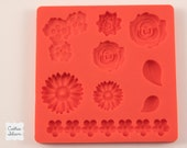 Flower silicone rubber mold - 9 designs - resin, polymer clay, mod melts, candy, utee, plaster, wax, soap, epoxy clay