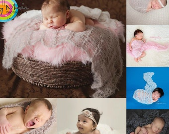 Photo Prop Baby Blanket, Hand Knit Soft Texture Newborn Infant Photography Prop
