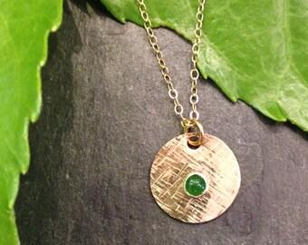 14kt gf jade disk necklace