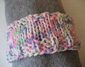 CLEARANCE SALE Hand Knit Headband, Pink Green Blue Pastels, Vegan Friendly Yarn, Dreadband Hairband Tube Hat Ear Warmer Dread Wrap Sweatband