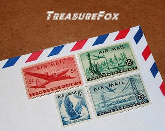Cross-Country Flight .. PREMIUM ..  Unused Vintage US Postage Stamps .. mail 5 letters. San Francisco, New York City, WWII planes, aviation