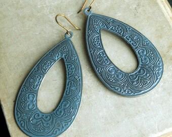 Capri Chandelier Earrings, Blue Earrings, Chandelier Earrings, Rustic Metal Earrings, Teardrop Chandelier, Lightweight Earrings