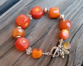 Orange Coral Gemstone Sterling Silver Statement Bracelet. Magnolia Jewel Designs