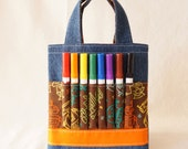Coloring Tote Crayon Bag Crayon Tote Ring Bearer Gift READY To SHIP ARTOTE Mini in Mr. Roboto Clearance