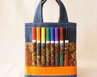 Coloring Tote Crayon Bag Crayon Tote READY To SHIP ARTOTE Mini in Mr. Roboto Clearance