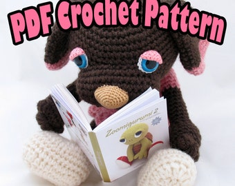 PDF Amigurumi /Crochet Pattern Brownie the Sleepy Eye Dog CP-14-3196