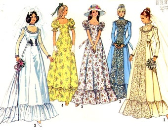 70s Wedding dress or 70s Bridesmaid dress vintage sewing pattern Simplicity 6888 Bust 34 Uncut