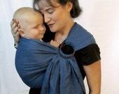 Linen Ring Sling Baby Carrier - 100% Linen in Blue Bonnets - DVD included