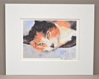 Calico Cat Art Signed Matted Print By Cori Solomon