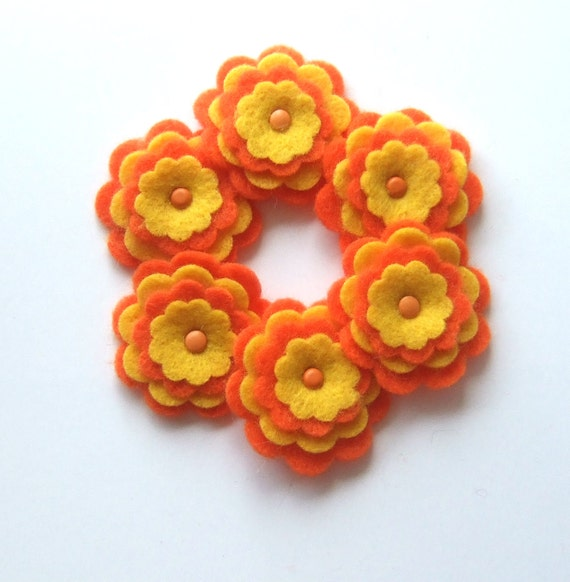 Orange and Yellow Felt Flower Embellishments with Metal Brad, Scrapbooking, Card Making, Hair Bows and Accessories