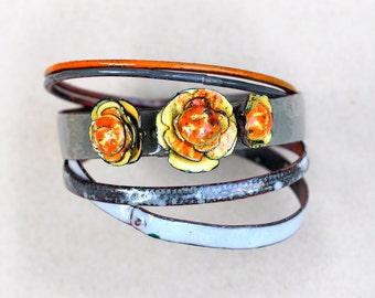 Gift for Her - Flower Bangle Set - Orange Begonias