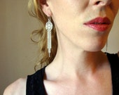 Lace drop chain fringe dangle earrings in sterling silver