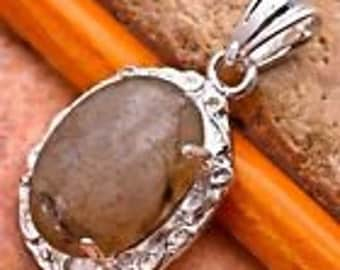 "labradorite gemstone 925 silver plated over solid copper pendant 1 1/4""jewelry findings  DRW15"