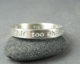 Personalized ring, custom inscription,  sterling silver ring, name ring,  skinny 3mm ring, stamped ring, stackable ring,mothers ring