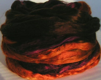 Silk Sliver Top Mulberry Roving Fiber HARVEST TIME Luxurious Supreme Quality Hand Painted for Handspinning 2 oz