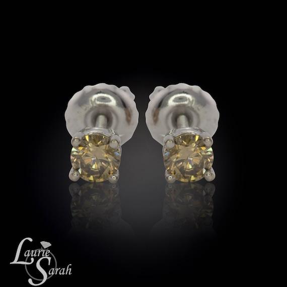 Laurie Sarah Fancy Brown Diamond Stud Earrings in 14kt Yellow Gold - LS1643