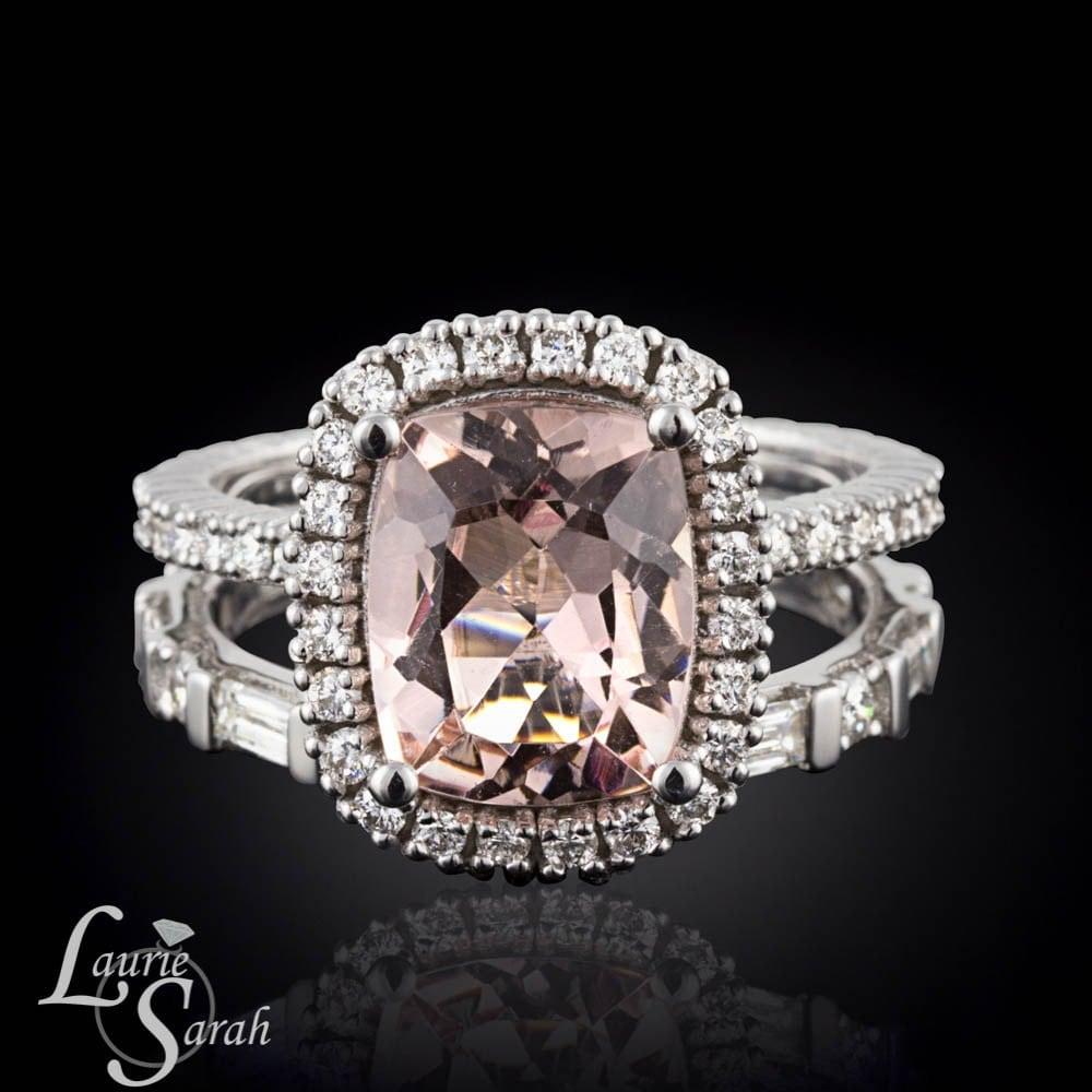 Morganite Ring 3 carat Morganite Engagement by LaurieSarahDesigns