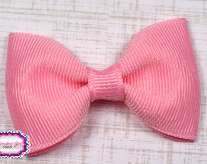 "Pink Tuxedo Bow  ~ 2.5"" Hairbow ~ Small Hair Bow ~ Girls Barrette ~ Toddler Bow ~ Baby Hair Bow ~ Hair Clip ~ Girls Hair Bow"