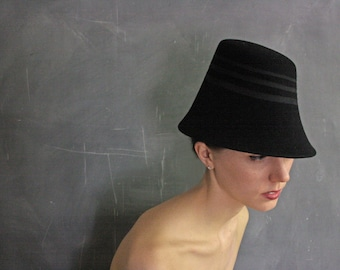 Free Shipping/U.S./Can.The Tipsy no.22, women's black fur felt hat, sculptural bucket style
