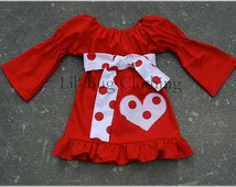 Red Valentines Day Peasant Dress Girl Polka Dot Heart 12 18 24 2t 3t 4t 5t 6 7 girl