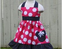 Hot Pink Minnie Mouse Jumbo Black Pin Dot Jumper Dress Black Trim