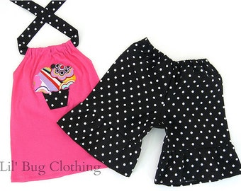 Custom Boutique Cupcake And Dots Short and Halter 12m 18m 24m 2 3 4 5 6 7 8 9 10 Girl