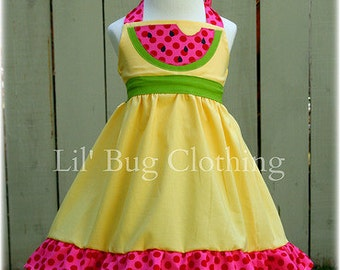 Custom Boutique Clothing Watermelon Yellow and Hot Pink Polka Jumper Dress