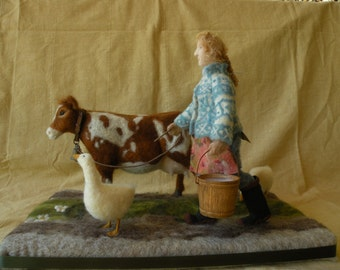 Needle felted cow and lady...Two Fat Geese and a Gallon of Milk...Free shipping.