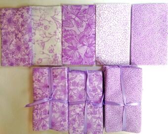 Fat Quarter Cotton Lavender Fabric FOUR Sets of Five Pieces