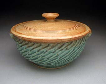 3 Quart Casserole With Carved Design  - Aqua & Shino Glazed