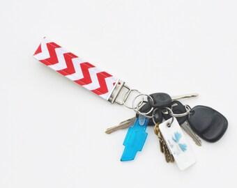 Red Chevron Fabric Keychain Fob
