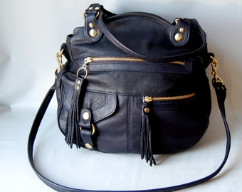 Okinawa leather bag in navy
