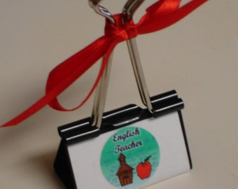 CLearance Sale LARGE binder clip recipe - gift card - photo holder ENGLISH TEACHER