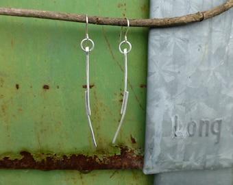 Sterling Dangle Simple Twig Earrings Modern silver earrings
