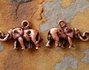 1 Antique Copper Elephant Charm -  Nunn Designs