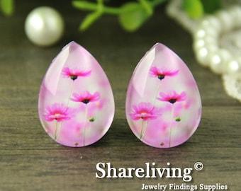 4pcs 18x25mm Handmade Photo Teardrop Glass Cabs Cabochons (Flower) -- BCH960V