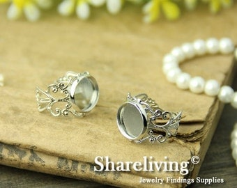 10pcs Silver Adjustable Filigree Rings With 12mm Cameo Setting RI444B