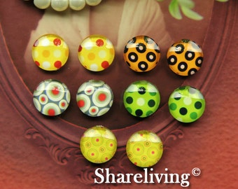 10pcs 12mm Mixed Handmade Photo Glass Cabochon / Wooden Cabochon  -- MCH005U