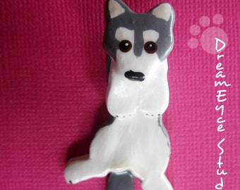 Grey Siberian Husky Hangin' On Artist Hand-made Clay Pendant B4