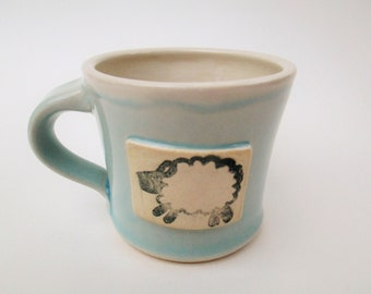 Small Mug - Sheep - Ceramic Mug - Light Blue - Knitter