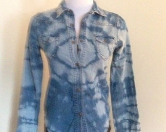Altered Couture Bleached Tie Dyed Denim Shirt Hippie