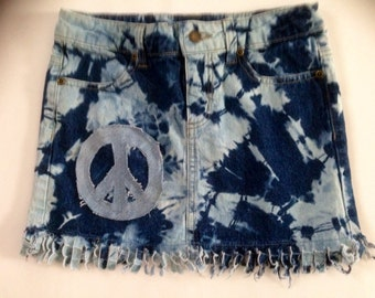 Altered Couture Refashioned Blue Jean Skirt