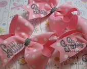 Sorority Set of 3  Monogrammed 4 inch Embroidered Boutique Hair Bow  Set of 3 Bows You pick 3- Big, Little, Gbig, GGbig.