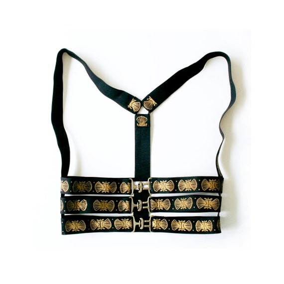 Body Harness, Elastic Harness,  Underbust Harness, Cage Bra, Harness Lingerie, Art Deco, Body Bondage, Black and Gold, Norwegian Wood
