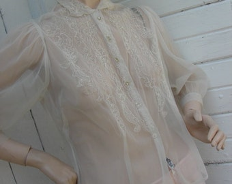 Vintage Women's Sheer Vintage Blouse