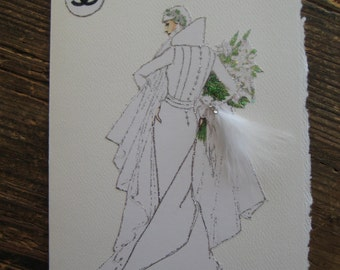 1931 Coco Chanel Wedding Gown Fashion Illustration Note card